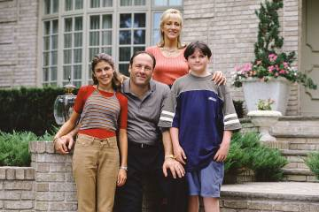 "From left, Jamie-Lynn Sigler, James Gandolfini, Edie Falco and Robert Iler star in ""The Soprano ..."