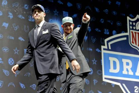 FILE - In this April 28, 2016, file photo, Los Angeles Rams' Jared Goff, left, and Philadelphia ...