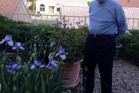 "Jerome ""Jerry"" Countess in the backyard garden of his Summerlin home. (Jane Seda)"