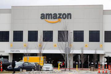 The Amazon DTW1 fulfillment center is shown in Romulus, Mich., Wednesday, April 1, 2020. Employ ...