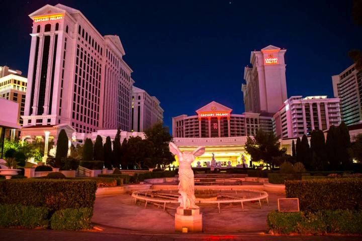 A view of Caesars Palace in Las Vegas on Thursday, April 2, 2020. Caesars Entertainment Corp. a ...