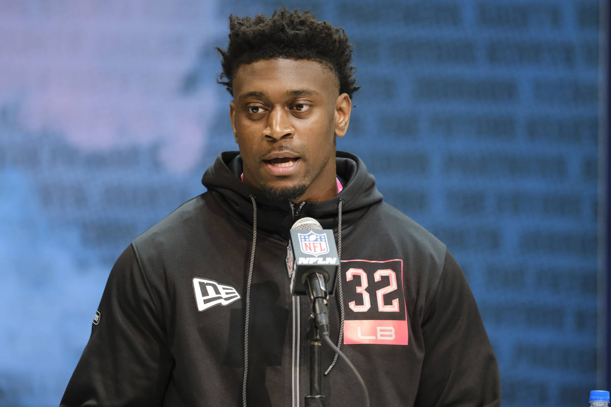 LSU linebacker Patrick Queen speaks during a press conference at the NFL football scouting comb ...