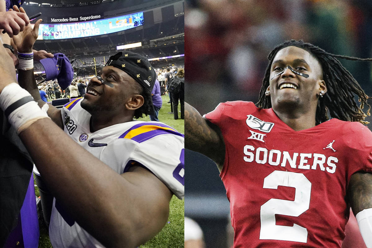 Louisiana State's Patrick Queen, left, and Oklahoma's CeeDee Lamb. (The Associated Press)