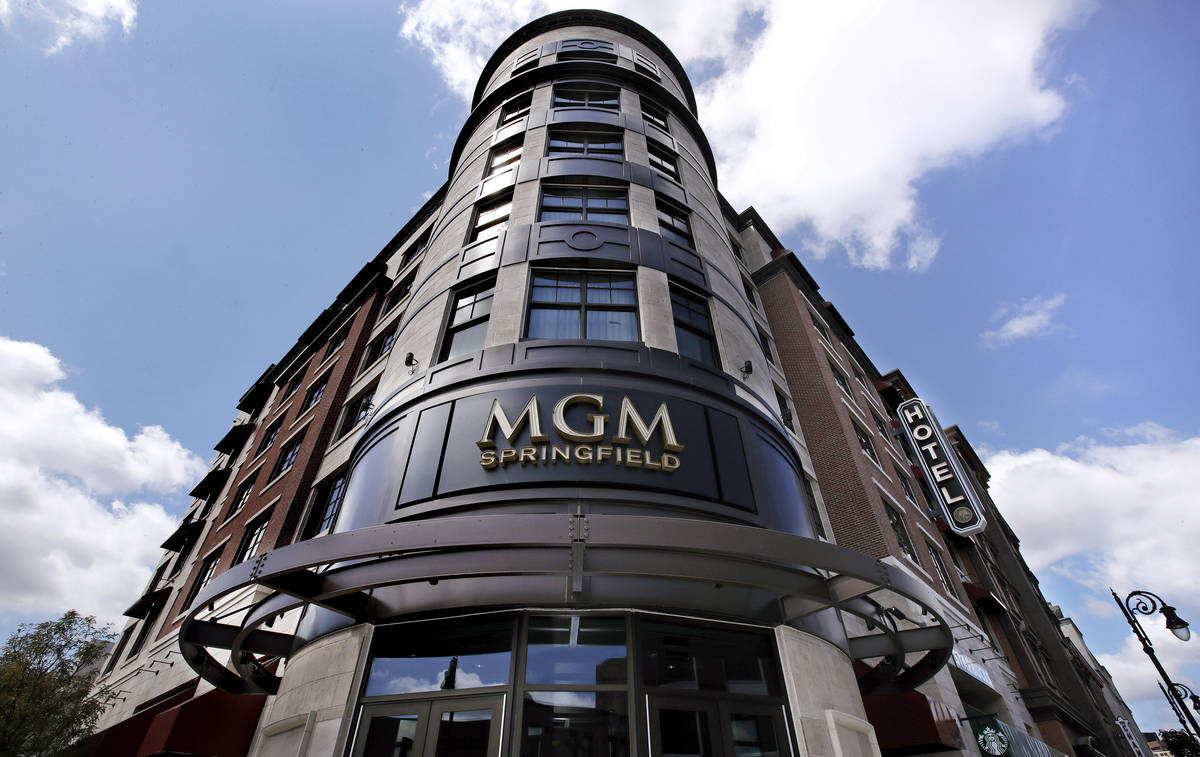 In this Wednesday, Aug. 15, 2018 file photo, the MGM Springfield casino's logo decorates the fr ...
