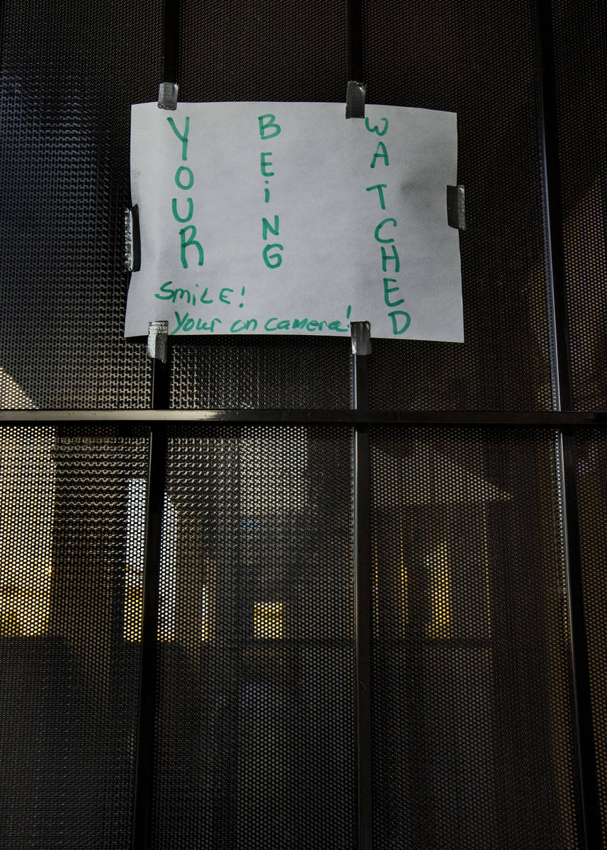 Sign on the outside door of a small office complex where Jeremy Ferreira and his family of five ...
