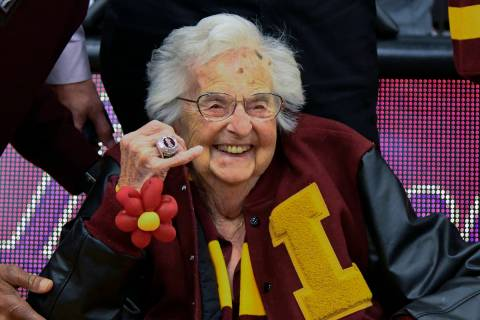 Loyola University of Chicago's Sister Jean shows off the NCAA Final Four ring she received befo ...