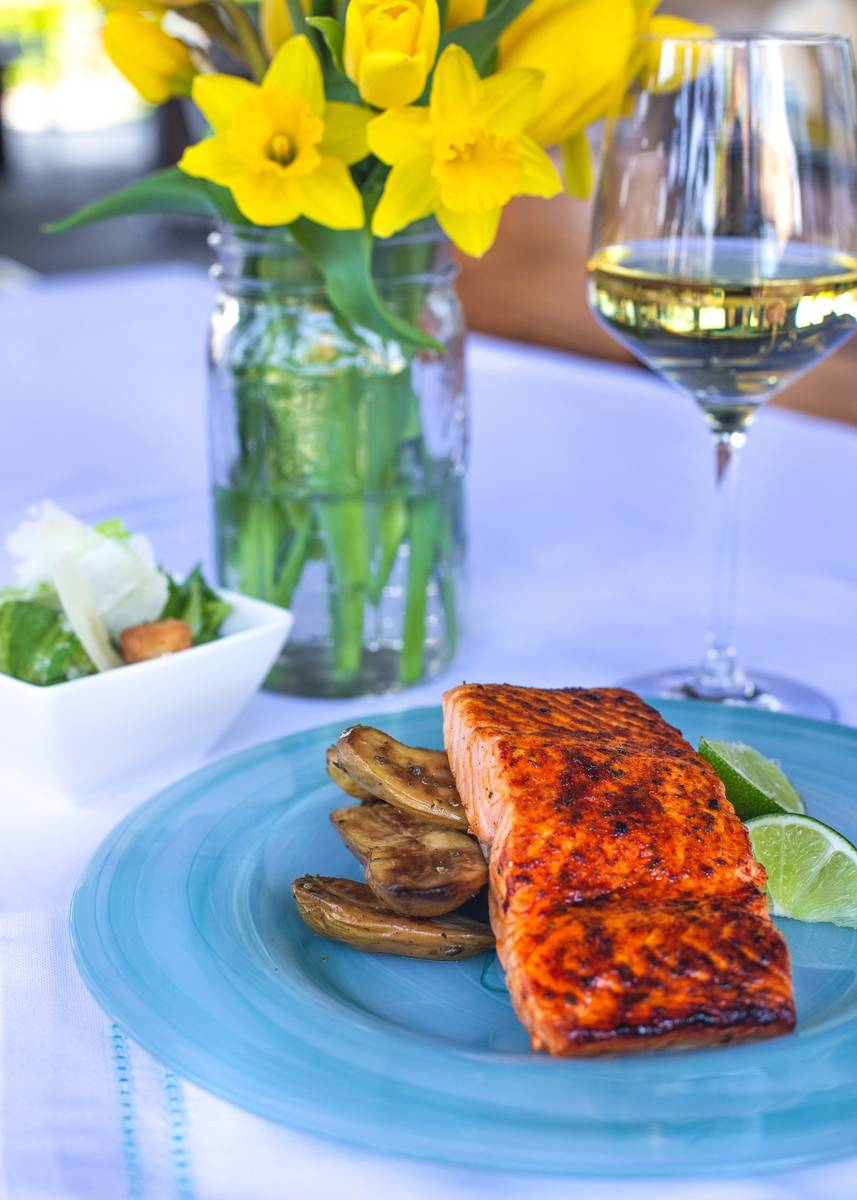 The salmon Spring Meal Kit at California Pizza Kitchen. (California Pizza Kitchen)