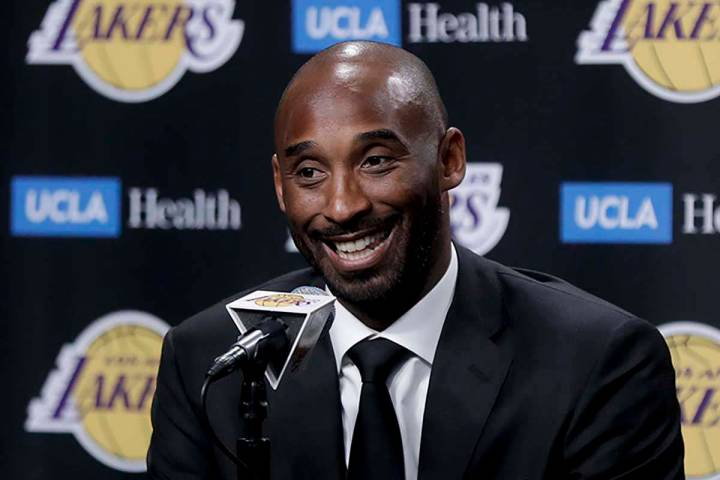 In this Dc. 18, 2017 file photo, former Los Angeles Laker Kobe Bryant talks during a news confe ...