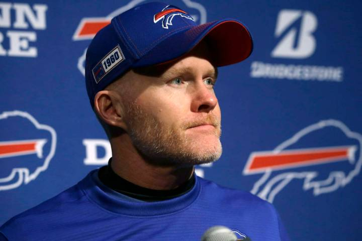 FILE - In this Dec. 21, 2019, file photo, Buffalo Bills head coach Sean McDermott speaks to the ...