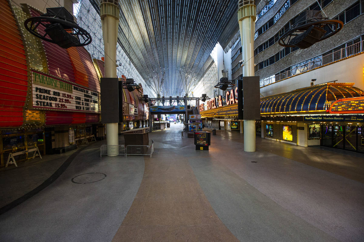 A closed off Fremont Street Experience in Las Vegas on Saturday, April 4, 2020. (Chase Stevens/ ...