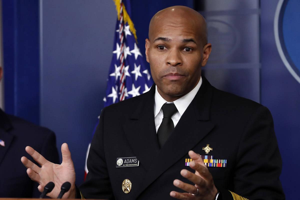 U.S. Surgeon General Jerome Adams speaks about the coronavirus in the James Brady Press Briefin ...