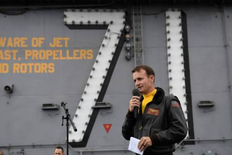 In this Nov. 15, 2019, photo U.S. Navy Capt. Brett Crozier, commanding officer of the aircraft ...