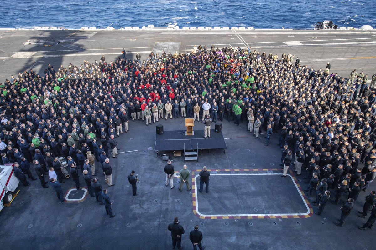 In this Dec. 15, 2019, photo U.S.Navy Capt. Brett Crozier, commanding officer of the aircraft c ...