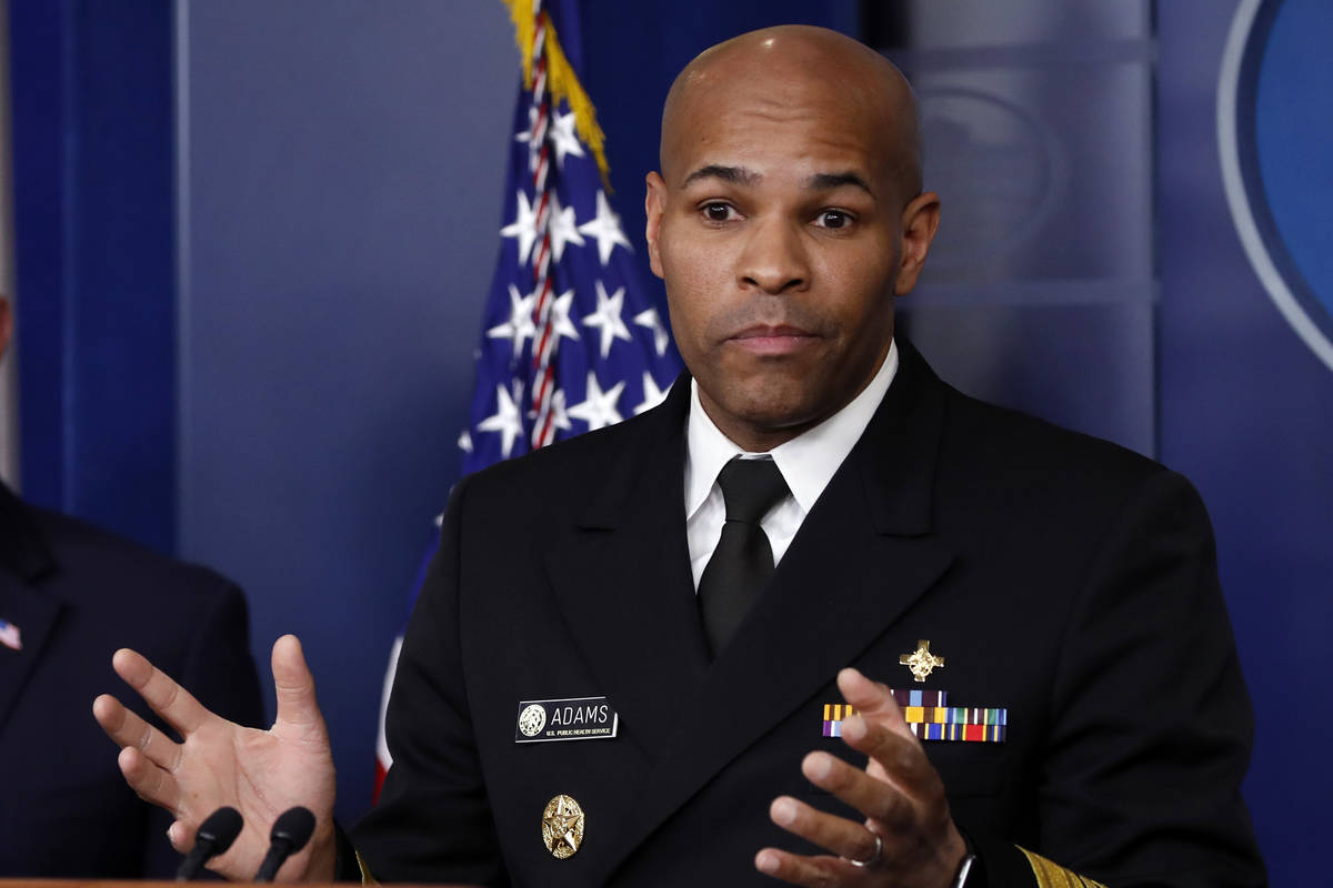 U.S. Surgeon General Jerome Adams speaks about the coronavirus in the James Brady Press Briefin ...