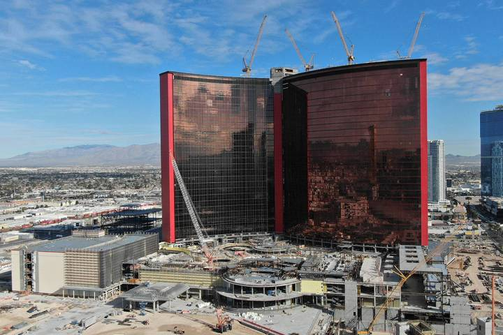 Aerial view of construction at Resorts World Las Vegas on the north Strip in Las Vegas Thursday ...