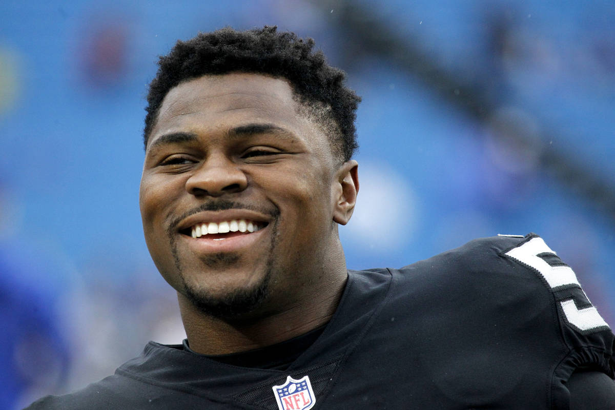 FILE - In this Oct. 29, 2017, file photo, Oakland Raiders defensive end Khalil Mack smiles befo ...