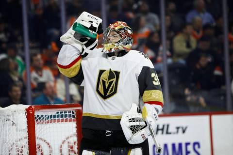 Vegas Golden Knights' Oscar Dansk in action during an NHL hockey game against the Philadelphia ...