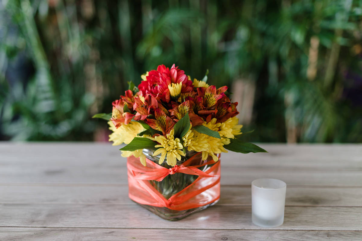 A vase of fresh flowers adds color to desks, dining tables and kitchen counters. (Rose Shack)
