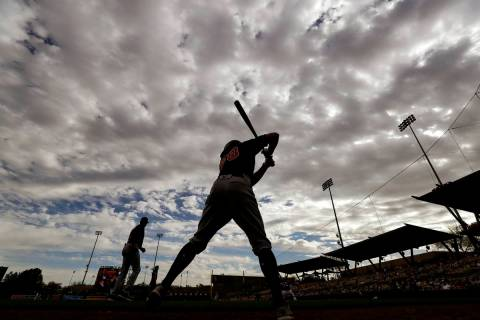 Cleveland Indians' Ernie Clement waits to bat during the ninth inning of a spring training base ...