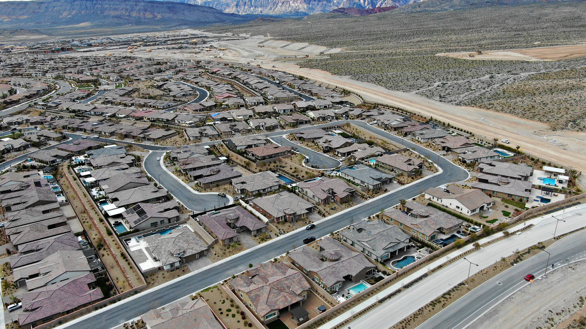 Aerial view of Summerlin homes near the end of Far Hills Avenue in Summerlin on Monday, March 2 ...