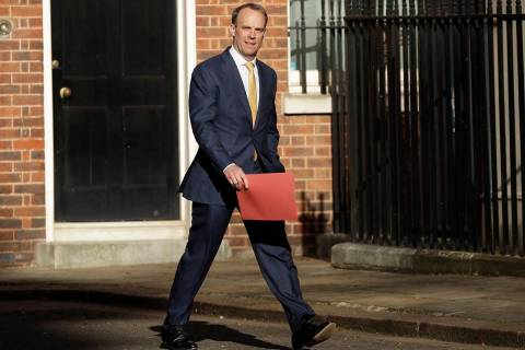 Britain's Secretary of State for Foreign Affairs, Dominic Raab, arrives in Downing Street as Br ...