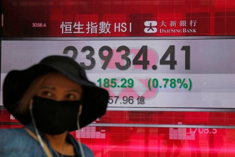 A woman wearing a face mask walks past an electronic board showing Hong Kong share index outsid ...