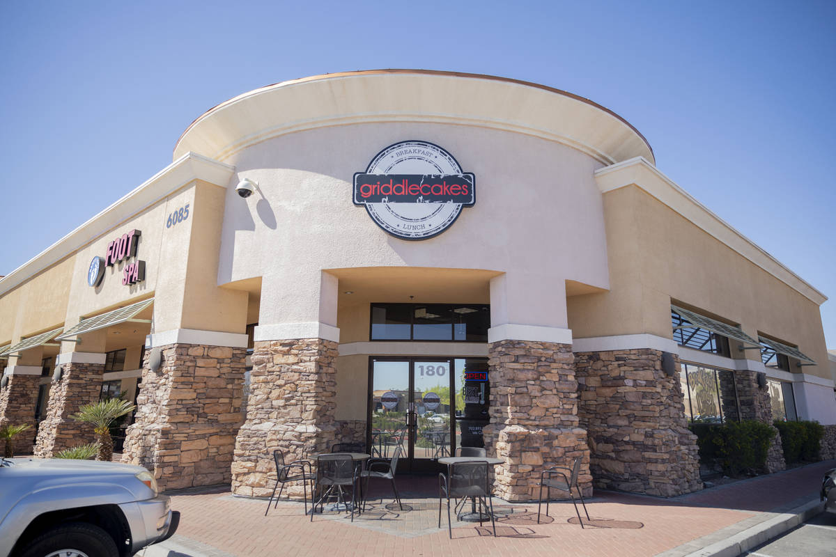 Griddlecakes located on S Fort Apache Road, is seen open for takeout, in Las Vegas on Friday, A ...