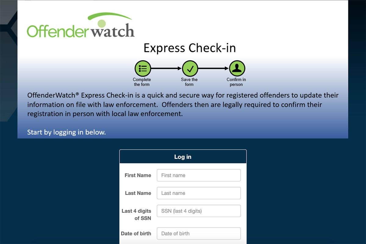 A screenshot of the Offender Watch database at offenderwatchexpress.com