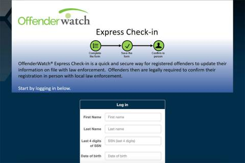 A screenshot of the Offender Watch database at offenderwatchexpress.com