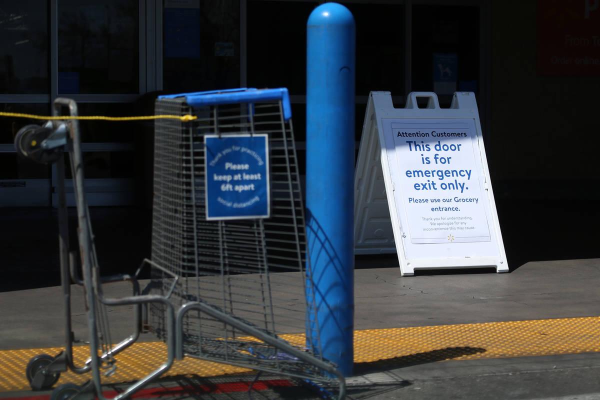 A closed entrance at the Walmart Supercenter,3950 W Lake Mead Boulevardin North Las ...