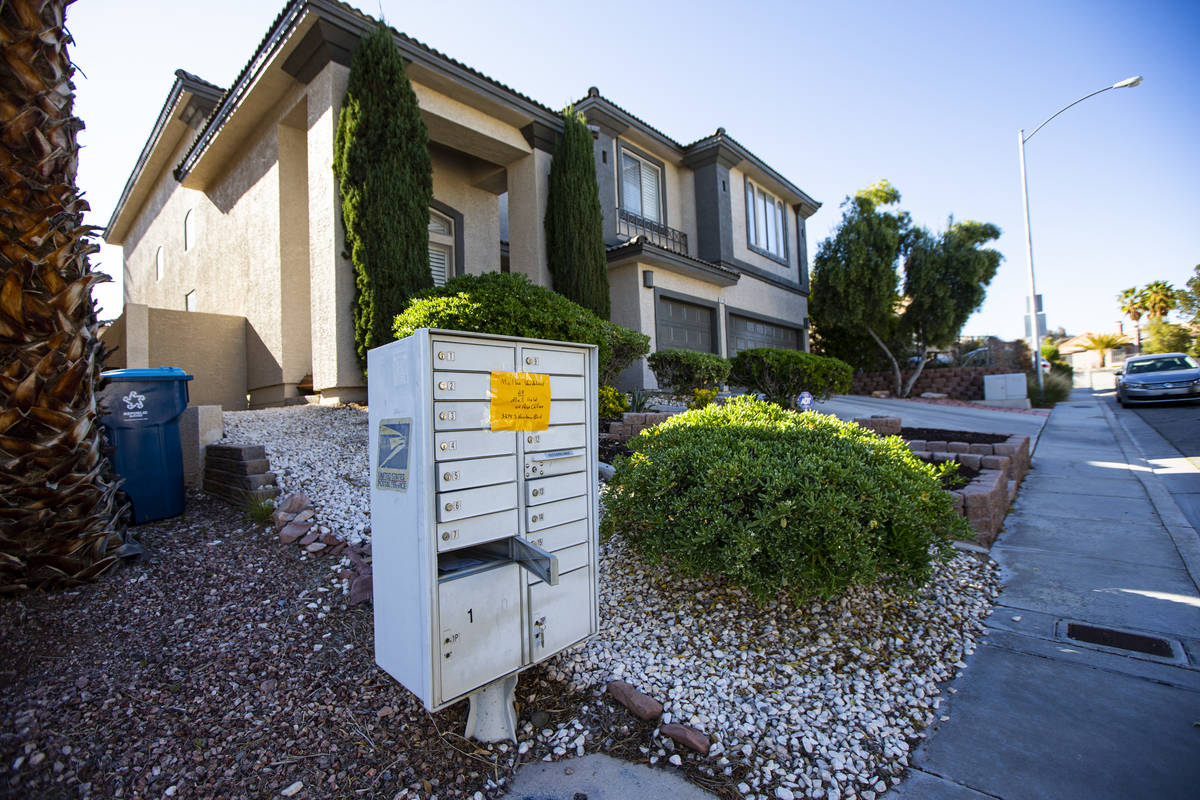 A vandalized mailbox near Twain Avenue and Fort Apache Road in Las Vegas on Tuesday, April 7, 2 ...
