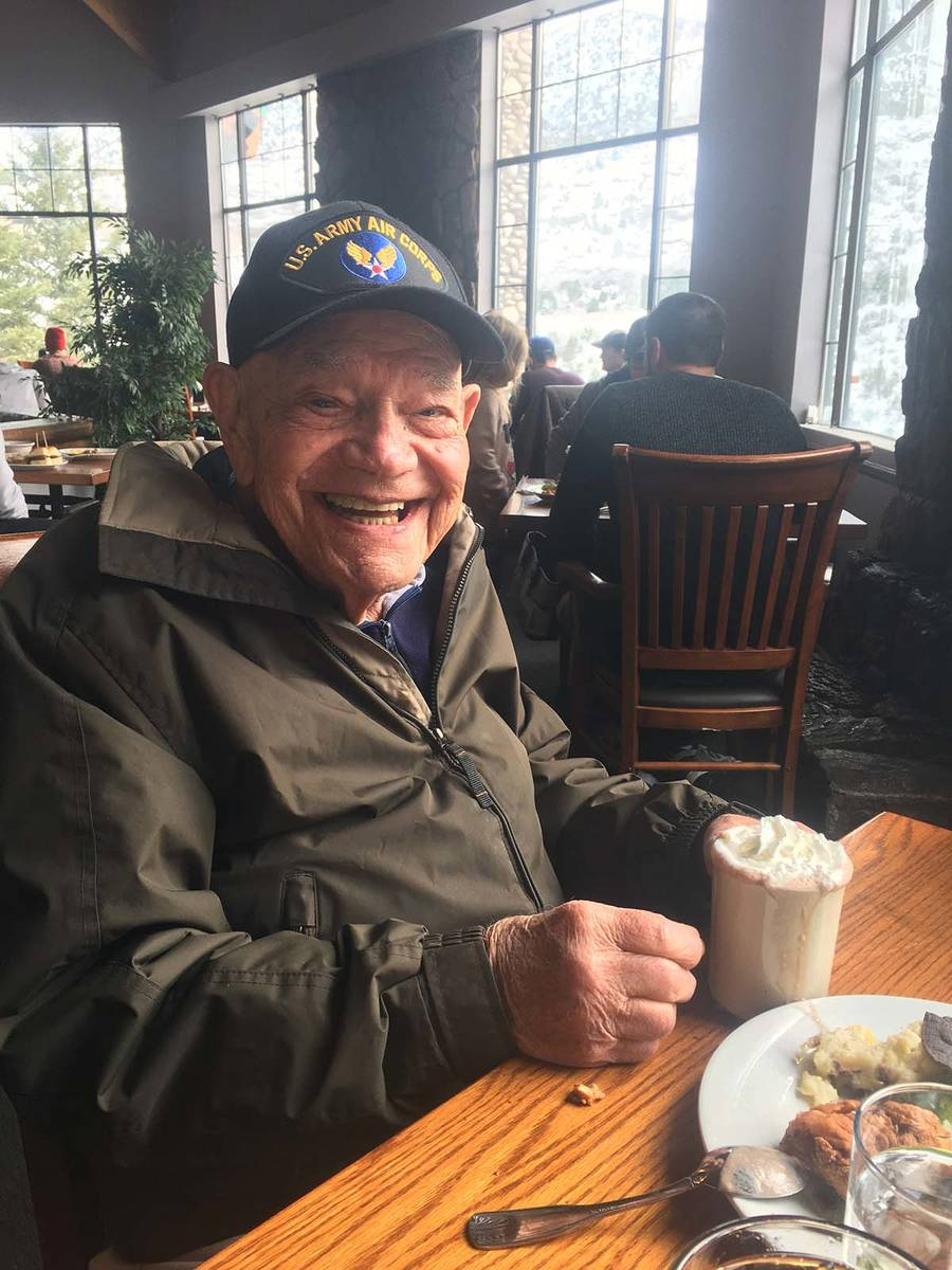 WWII Army veteran Edward Turken, 96, poses for a photo in November 2019. Turken died Sunday aft ...