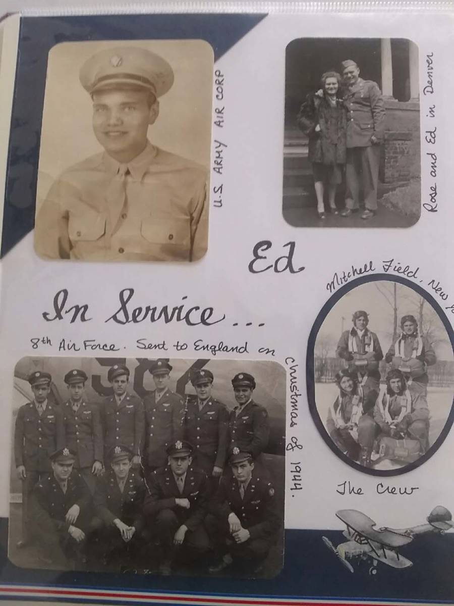 A photo of a scrapbook containing photos of a young Edward Turken in the U.S. Army Air Corps du ...