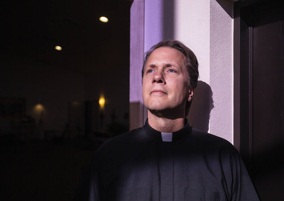 Pastor Paul Block at New Song Church on Tuesday, April 7, 2020, in Henderson. (Benjamin Hager/ ...