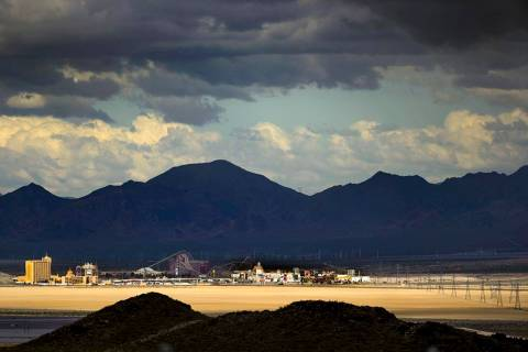 Primm is caught in some sunlight light as rain clouds move into the area on Tuesday, April 7, 2 ...