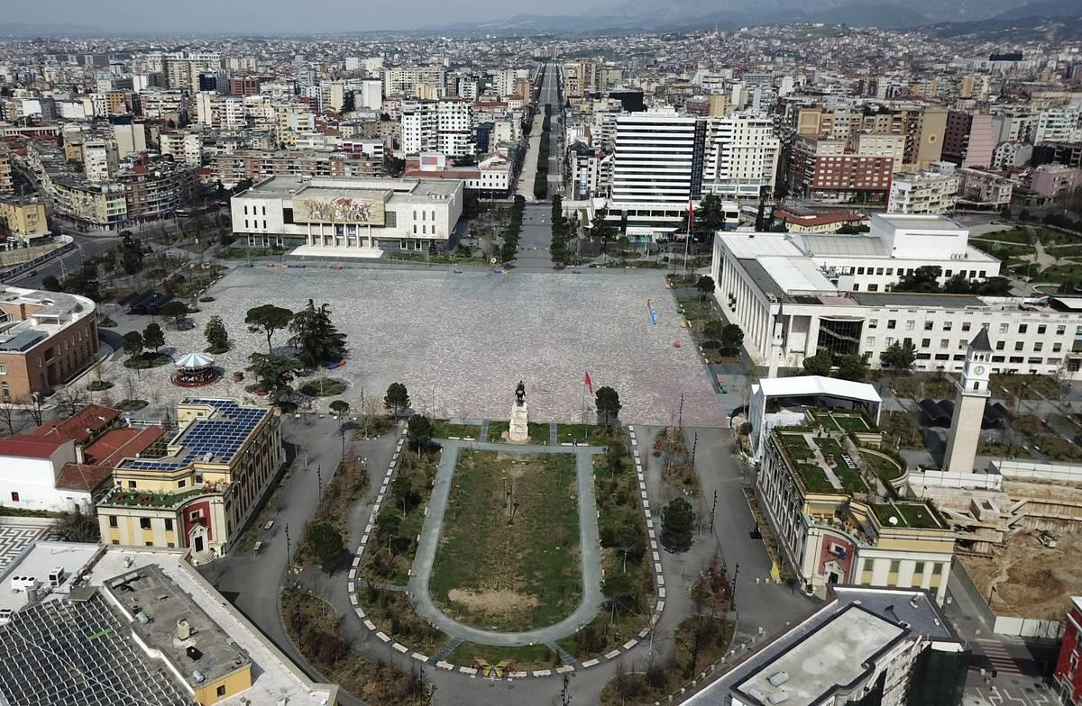 The empty Tirana's main Skanderbeg Square, is seen for above on Sunday, March 22, 2020. Albania ...