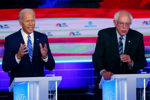 In a June 27, 2019, file photo, Democratic presidential candidates, former Vice President Joe B ...