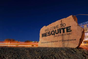 "Car lights streak by in front of the ""Welcome to Mesquite"" sign (Las Vegas Review-Journal/file)"