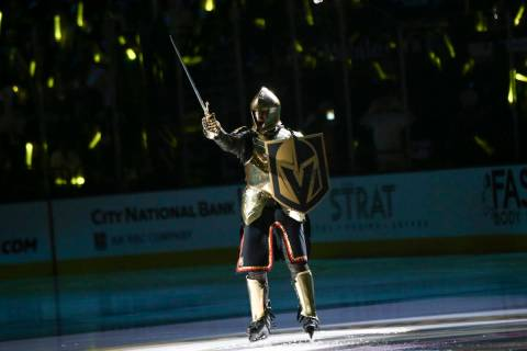 The Golden Knight pumps up the crowd before the start of Game 3 of an NHL Western Conference qu ...