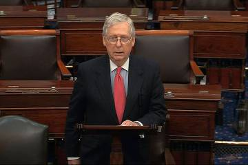 In this image from video, Senate Majority Leader Mitch McConnell, R-Ky., speaks on the Senate f ...