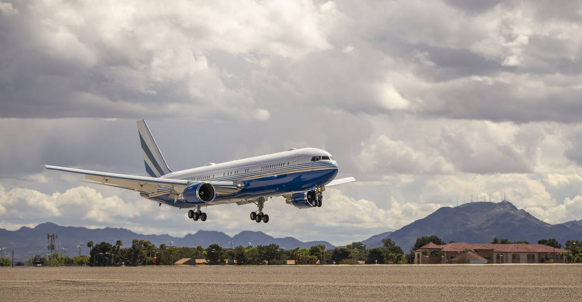 A Las Vegas Sands Corporation plane arrives at McCarran International Airport from from Guangzh ...