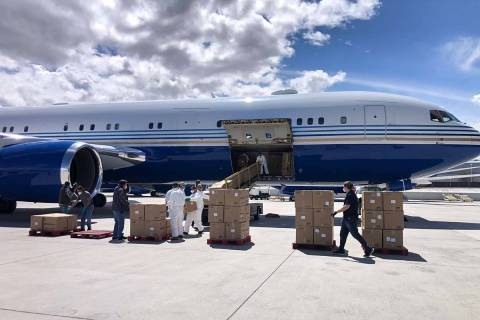 A Boeing 767 owned by Las Vegas Sands Chairman Sheldon Adelson arrives at McCarran Internationa ...