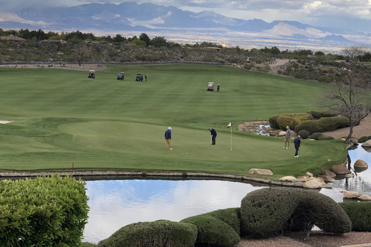 Members golf at Anthem Country Club on Thursday, April 9, 2020 -- one day after Gov. Steve Siso ...
