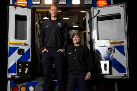 Paramedics Jeff Yost, left, and Sarah Derleth at Community Ambulance on Wednesday, April 8, 20 ...