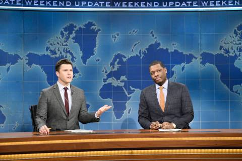 This Feb. 29, 2020 photo released by NBC shows Colin Jost, left, and Michael Che during the Wee ...