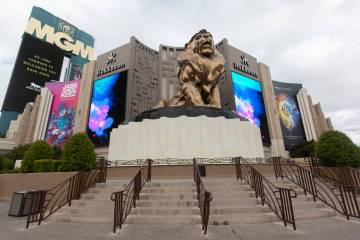 The stairs in front of the MGM lion has no tourists in front of it on Wednesday, March 18, 2020 ...