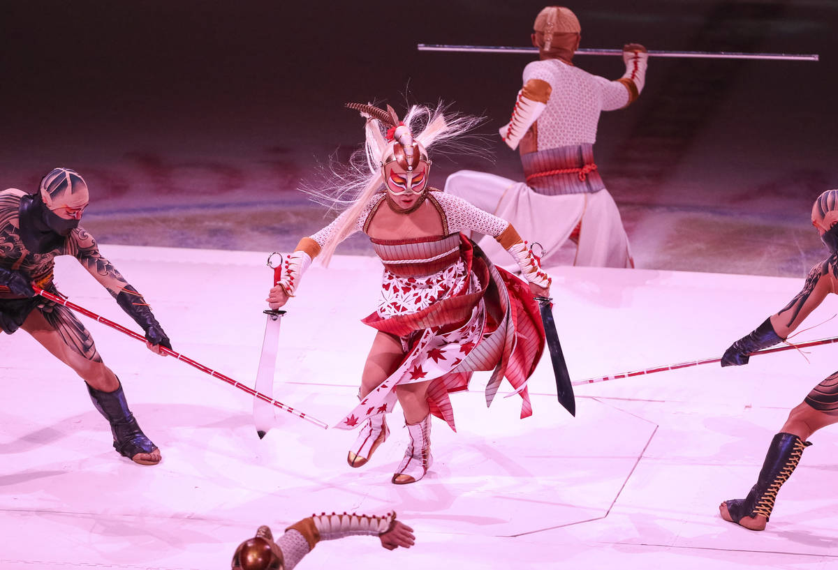 "Members of Cirque du Soleil's ""Ka"" perform on the first intermission du ..."