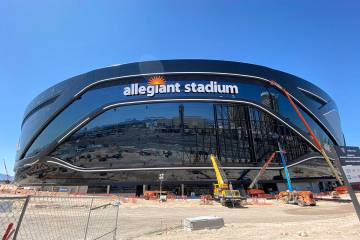Work continues on Allegiant Stadium on Saturday, April 4, 2020. (Mick Akers/Las Vegas Review-Jo ...
