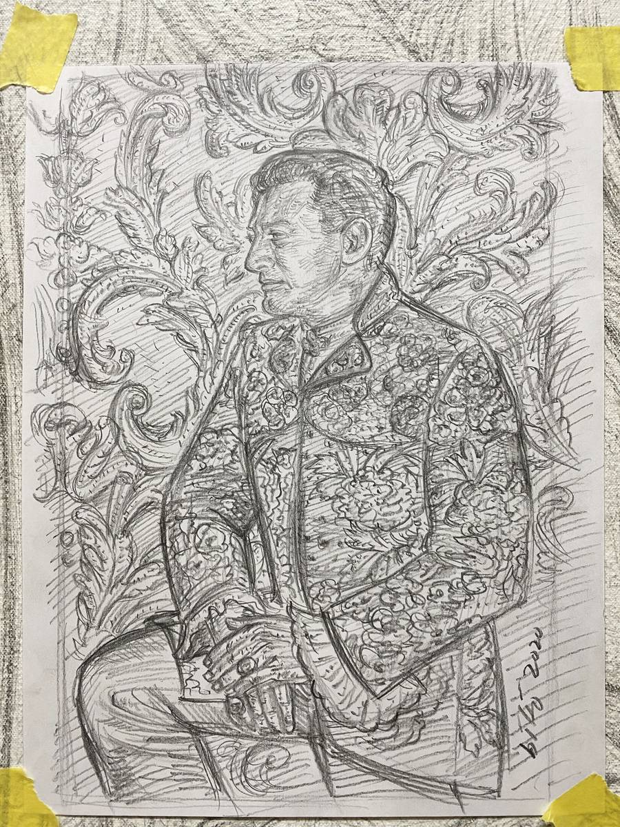 """Gig Depio's piece. """"It is a young Liberace -- managed to find some photos where he wasn't smi ..."""