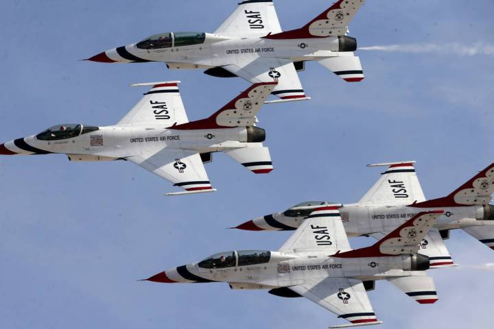 Thunderbirds perform at Aviation Nation 2019 Air Show preview at Nellis Air Force Base in Las V ...